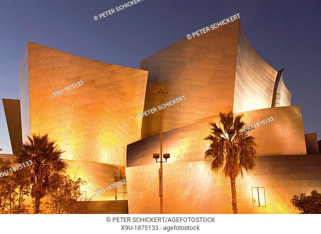 modern architecture by Frank Gehry at night, Walt Disney Concert Hall, Downtown Los Angeles, California, United States of America, USA