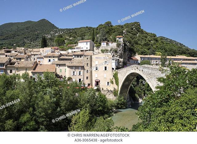 Pont de Nyons medieval bridge over the Eygues River Nyons Drôme Auvergne-Rhône-Alpes France