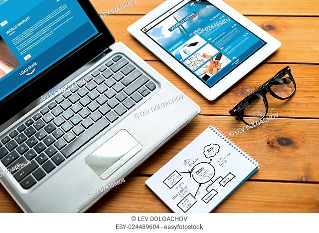 business, responsive design and technology concept - close up of on laptop computer, tablet pc, notebook and eyeglasses with world news and scheme on wooden...
