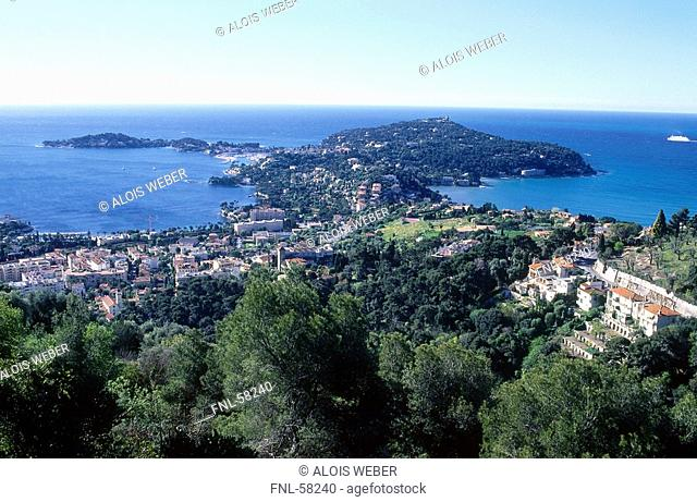 High angle view of town at the coast, Cap Ferrat, Cote d Azur, France