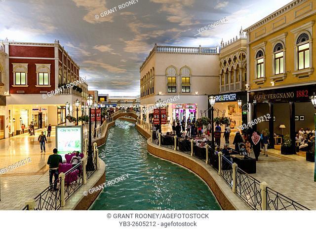 Colourful Shops and Cafes At Villaggio Shopping Mall, Doha, Qatar