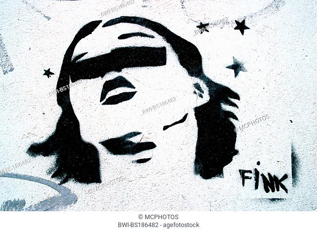 blindfolded young woman, stencil graffiti