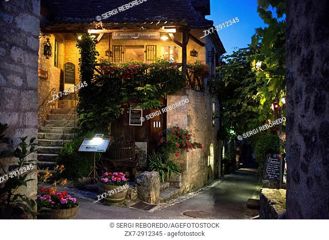 Bars and restaurants in Saint Cirq Lapopie, Midi Pyrénées, Lot, France