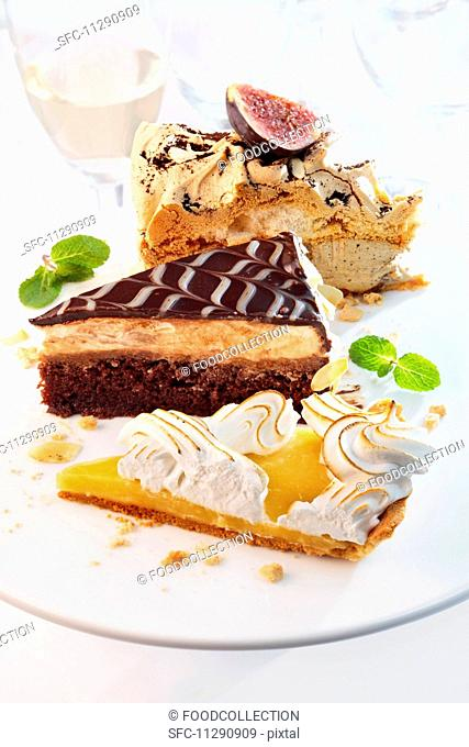 Various slices of cake