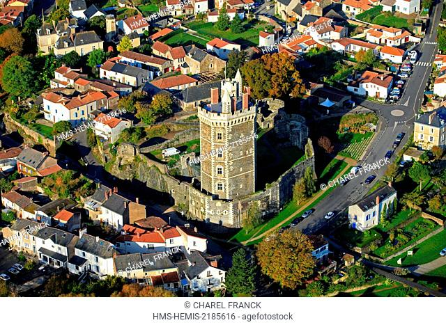 France, Loire Atlantique, The Tower and the medieval Castle of Oudon (aerial view)