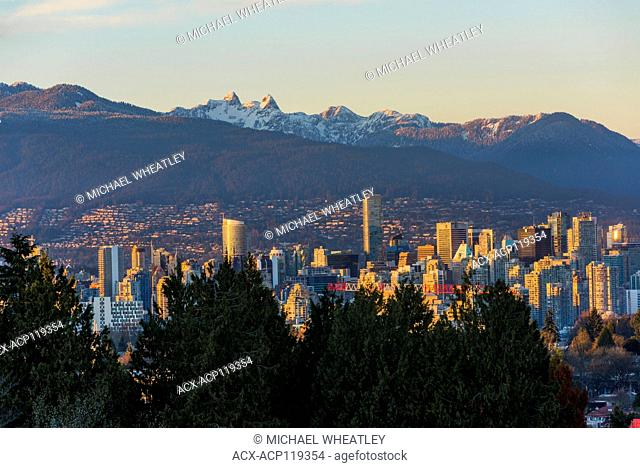 Downtown Vancouver skyline and North Shore Mountains from Queen Elizabeth Park, Vancouver, British Columbia, Canada