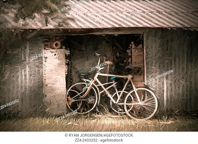 Vintage digital illustration of a typical rural Australian scene with bikes parked by an old farmyard garage. The bike shed