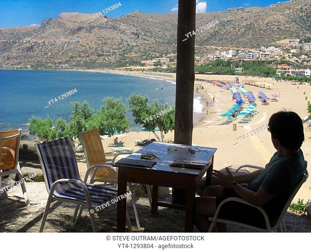Enjoying the view from Castello snack bar, Paleochora, South Crete, Greece