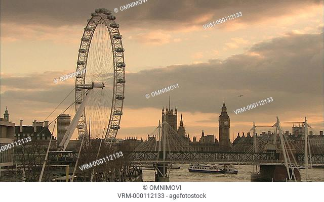 Shot in the evening with London Eye, Big Ben and Houses of Parliament