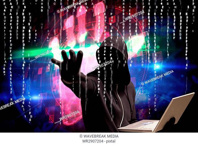 Composite image of man against digital background