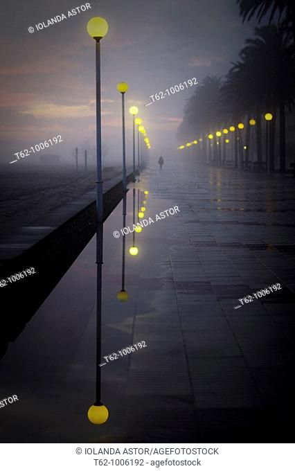 People walking in a fog late
