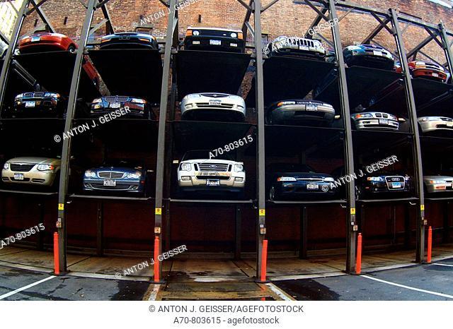 USA, New York City, parking garage