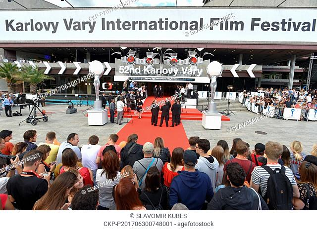 Fans and journalists wait to the opening of the 52nd International Film Festival in Karlovy Vary, Czech Republic, on June 30, 2017