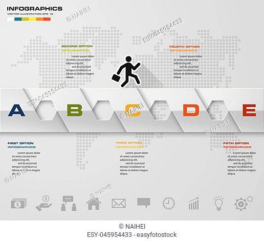 Abstract 5 steps infographics elements.Vector illustration. timeline presentation. EPS10