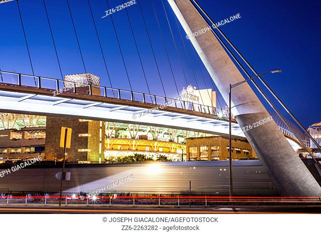 The Harbor Drive Pedestrian Bridge in downtown San Diego viewed at night. San Diego, California, United States
