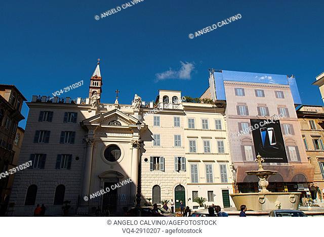 Italy, Lazio, Rome, historical centre listed as World Heritage by UNESCO, Piazza Farnese, Santa Brigida Church