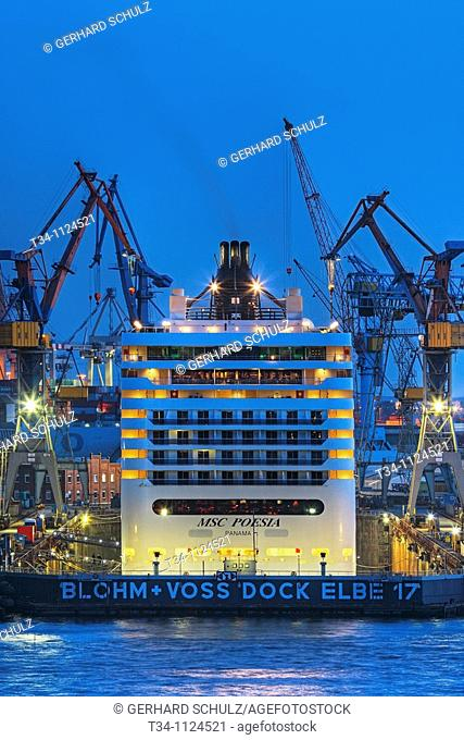 MSC Poesia in Dock at Blohm and Voss, Hamburg Harbour, Germany