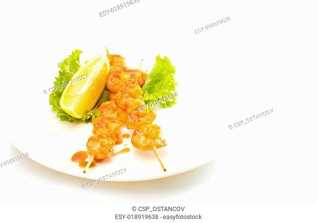 Grilled Shrimps isolated on white background