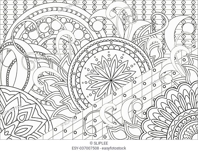 Hand drawn decorated image with doodle flowers and mandalas. Zentangle style. Henna Paisley flowers Mehndi. Image for adults coloring page