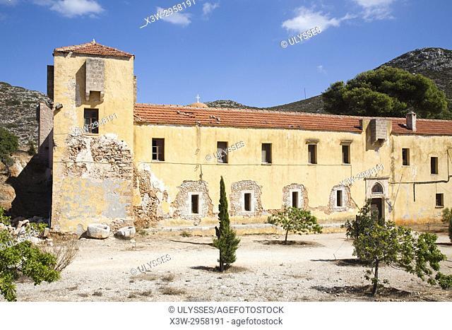 Gouvernetou Monastery, Akrotiti peninsula, Crete island, Greece, Europe
