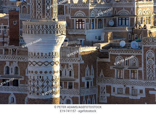 Mosque tower & skyline, San'a, Yemen
