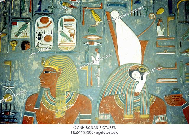 Tomb of Horemheb, last king of 18th dynasty, Ancient Egyptian, c1292 BC. Horemheb ruled from 1319-1292 BC. This wall painting shows him and the falcon-headed...