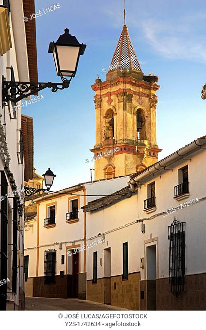 Urban view with bell tower, Cumbres Mayores, Huelva-province, Spain