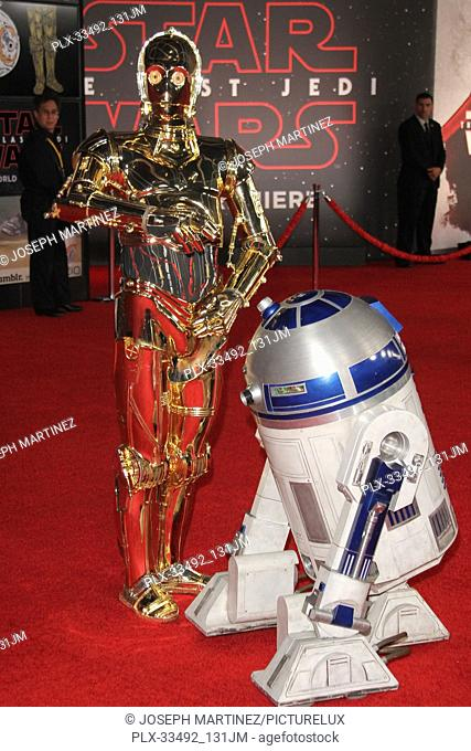 """R2 D2, C3PO at the World Premiere of Lucasfilm's """"""""Star Wars: The Last Jedi"""""""" held at the Shrine Auditorium in Los Angeles, CA, December 9, 2017"""