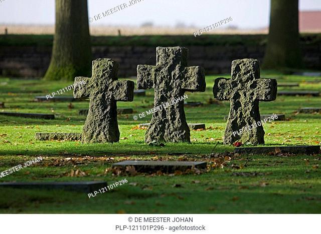 The Soldatenfriedhof, German World War One cemetery of Langemark, West Flanders, Belgium