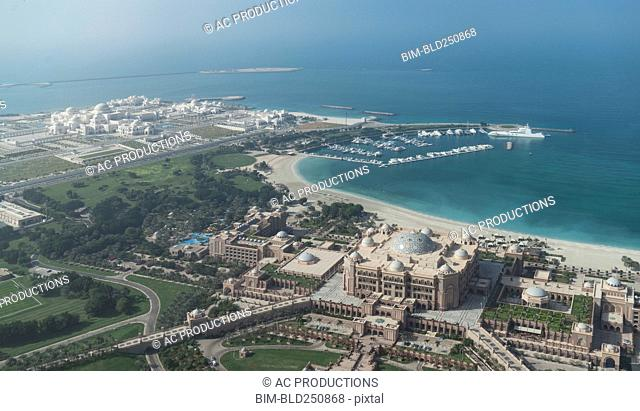 Aerial view of waterfront, Abu Dhabi, United Arab Emirates