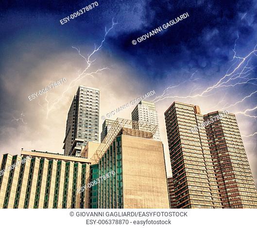 Storm over New York Skyline. Manhattan skyscrapers with dramatic sky