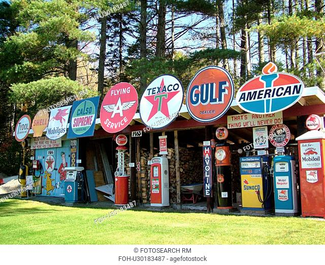Littletown, NH, New Hampshire, Antique Gas Station Signs, Pumps, fuel companies
