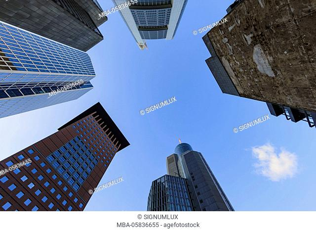 Europe, Germany, Hessia, Frankfurt, high rises in the financial district, garden tower, Japan Tower, Taunus tower Commerzbank, Deutsche Bank