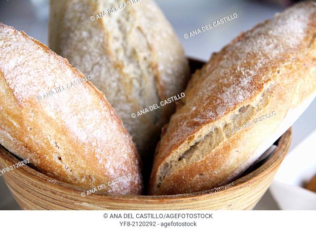 Three Bread loaves on basket Spain