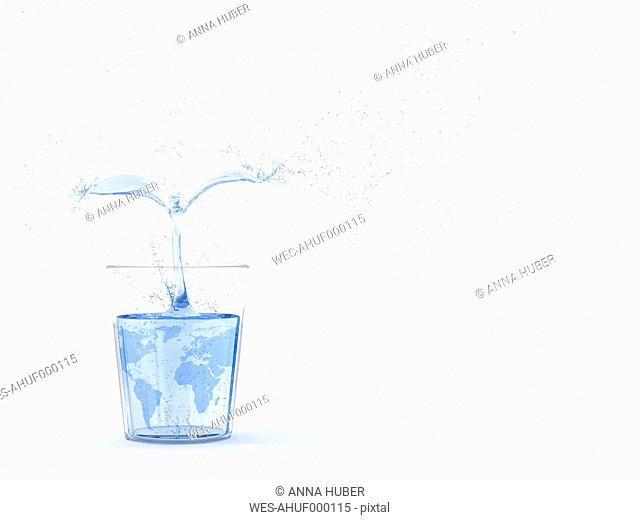 3D Rendering, plant of water growing in glass, world texture, copy space