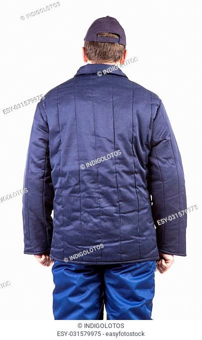 Worker in winter workwear. Back view. Isolated on a white background