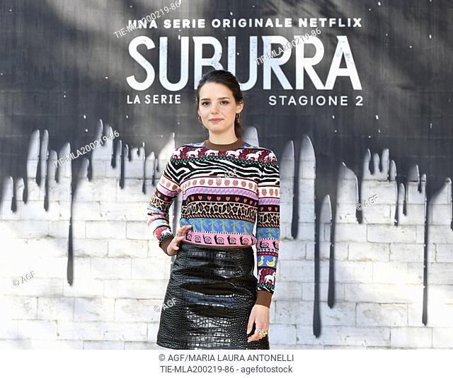 Federica Sabatini during photocall of the second season of Italian fiction 'Suburra', Rome 20-02-2019