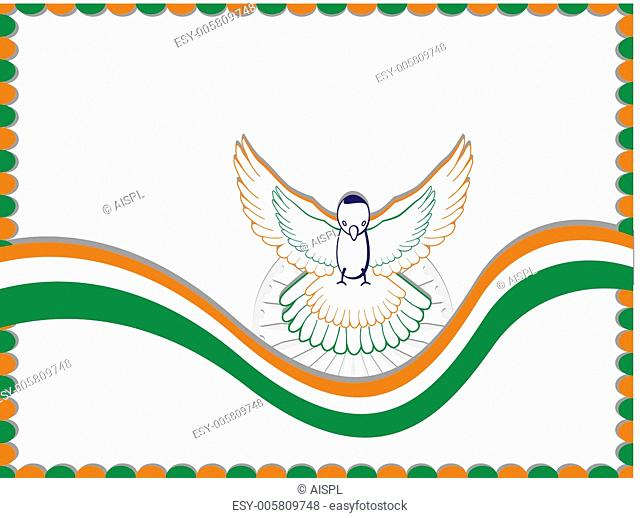 An Indian flag card with the flying pigeon. Vector Illustration