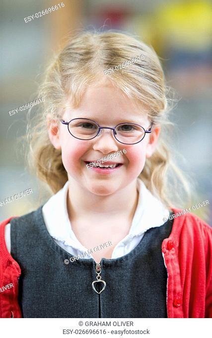 Portrait of a little girl at school