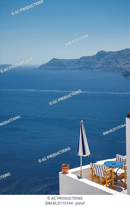 Balcony overlooking ocean and seascape