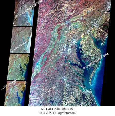 Multi-angle Imaging SpectroRadiometer MISR images of Delaware Bay, Chesapeake Bay, and the Appalachian Mountains acquired on March 24