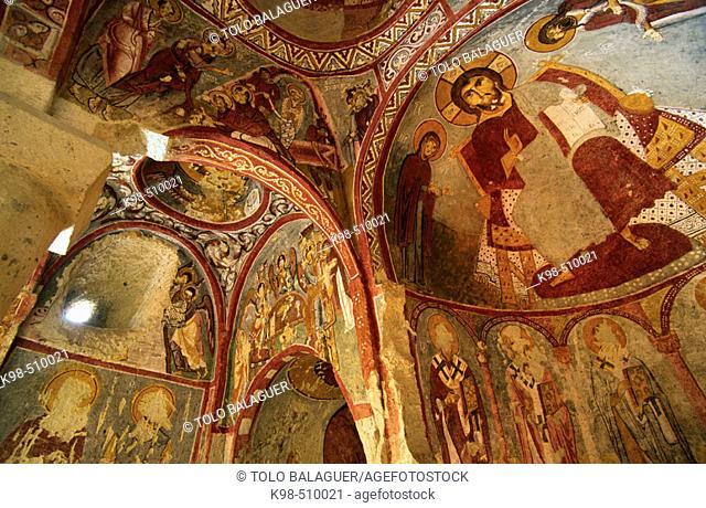 Frescoes in the Çarikli kilise (Church of Sandals) at Goreme Open Air Museum. Cappadocia, Turkey