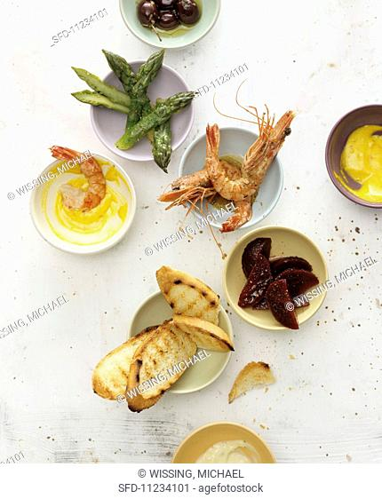 Tapas and toasted bread