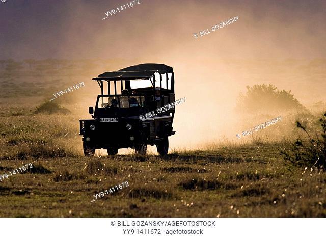 Safari vehicle driving with dust cloud behind - Masai Mara National Reserve, Kenya