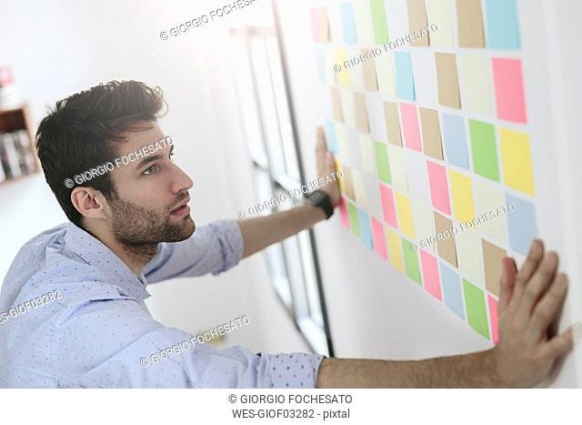 Young businessman working in office with sticky notes on wall