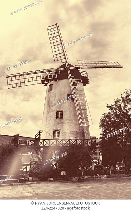 Sepia tone vintage architectural photo of the Penny Royal Windmill in Launceston Tasmania, Australia. Australian landmarks