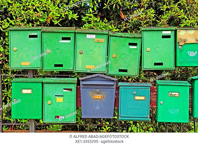 green and blue mailboxes, Sant Gregori, Vall de Llémena, Girona, Catalonia, Spain