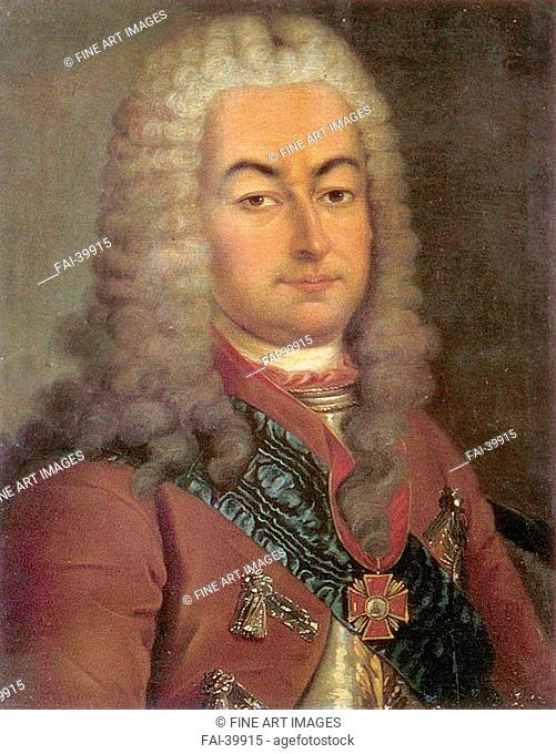 Portrait of Count Semyon Andreyevich Saltykov (1672-1742) by Anonymous /Colour lithograph/Rococo/18th century/Russia/Russian State Library