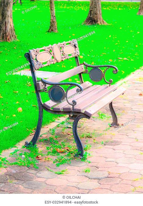 bench in the garden against green grass