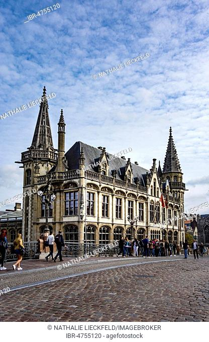 Old Post Office at the Graslei, Old Town, St. Michielsbrug, Old Town, Ghent, Belgium